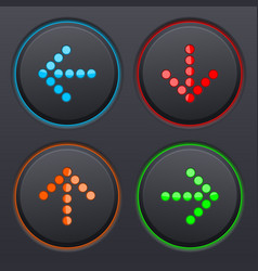 set of black buttons with colored dotted direction vector image vector image