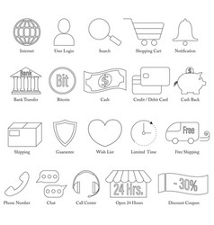 set of e-commerce line icon editable stroke vector image