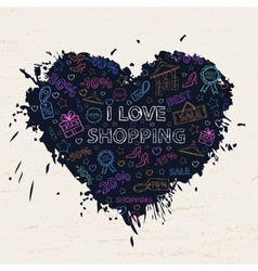 Shopping neon heart vector