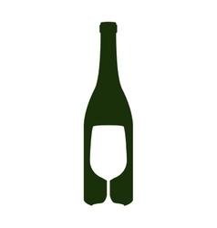 silhouette bottle wine and goblet vector image