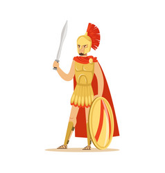 Spartan warrior character in armor and red cape vector