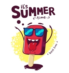 Summer poster funny cartoon character ice cream vector