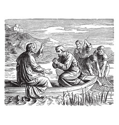 The miraculous draught of fish - jesus fishes vector