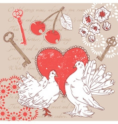 Valentine romantic postcard with hearts and doves vector image