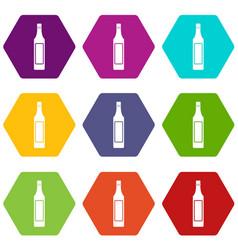 Vinegar bottle icon set color hexahedron vector