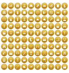 100 horsemanship icons set gold vector