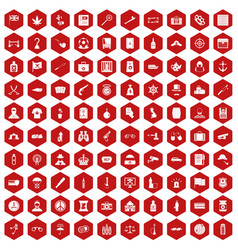 100 offence icons hexagon red vector