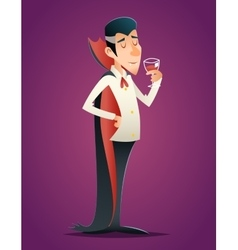 Cartoon halloween vampire gentleman savor drink vector