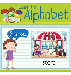 Flashcard alphabet s is for store vector