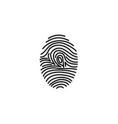 fingerprint icon identification vector image