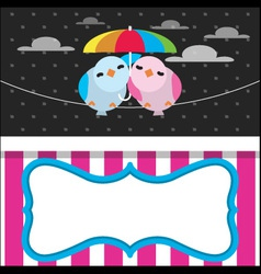 Cute rainy card with birds vector