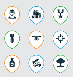 Combat icons set collection of danger chopper vector
