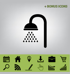 Shower sign  black icon at gray background vector