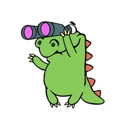 cute dinosaur looking through binoculars vector image