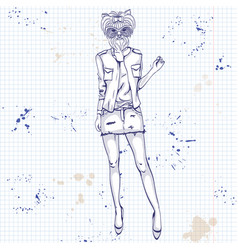 Sketch of a model with a dogs head vector