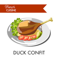 Tasty duck confit from french cuisine isolated vector