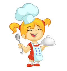 Cartoon girl cooks vector