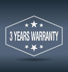 3 years warranty hexagonal white vintage retro vector