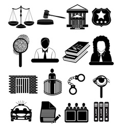 Law court icons set vector