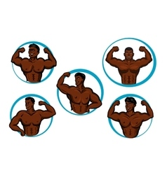 Cartoon posing bodybuilders and athletes vector