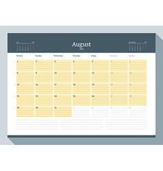 August 2016 monthly calendar planner for 2016 year vector