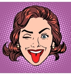 Retro emoji tongue woman face vector