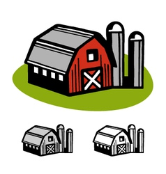 Barn and silos vector image