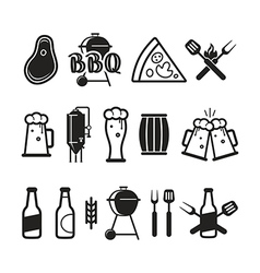 Barbecue and craft beer icons vector