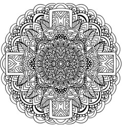 Abstract mandala ornament asian pattern black vector