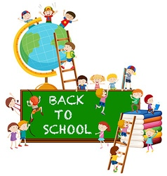 Back to school theme with kids and globe vector