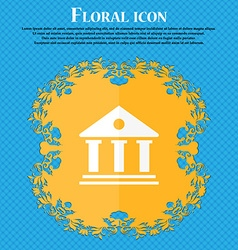 bank icon Floral flat design on a blue abstract vector image