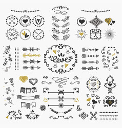 Black and golden hand drawn cute design elements vector