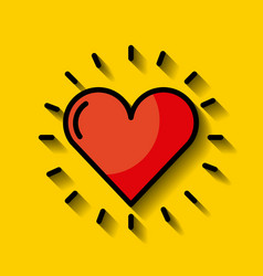 Cartoon heart with yellow background vector