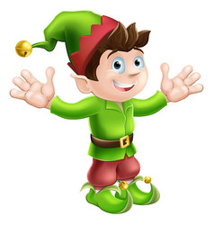 christmas elf waving vector image vector image