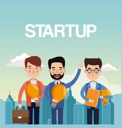 City landscape background teamwork businessmen vector