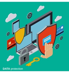 Computer security data protection concept vector