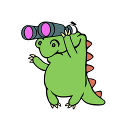 Cute dinosaur looking through binoculars vector