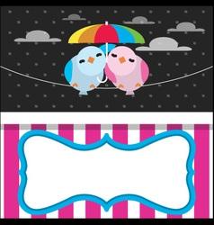 Cute Rainy Card with Birds vector image