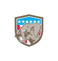 Elephant prancing stars shield retro vector