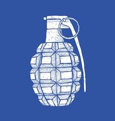 Engraved granade in vintage style vector
