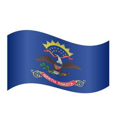 flag of north dakota waving on white background vector image