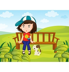 Girl and dog in the park vector