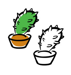 Hand drawing cartoon cactus vector