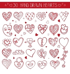 Hearts hand drawing doodle setred decoration vector