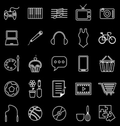 Hobby line icons on black background vector image vector image
