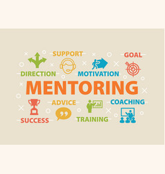 mentoring concept with icons vector image