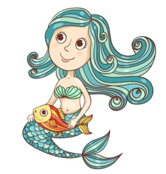Mermaid with fish isolated on white vector image vector image