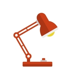 Red Desk Lamp Light Icon Flat Style vector image
