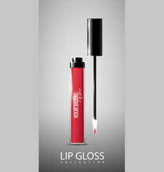 red opened lip gloss tube concept vector image vector image