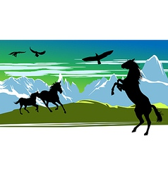 running black horses and birds vector image
